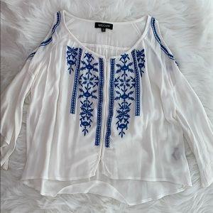 NWOT LF open shoulder embroidered top